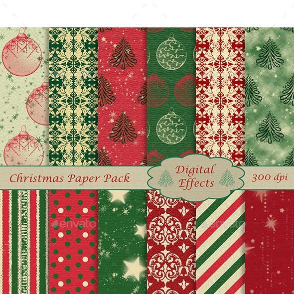 "Christmas Digital Paper Pack, 12 Digital Papers, JPG 12x12"" 300 dpi"