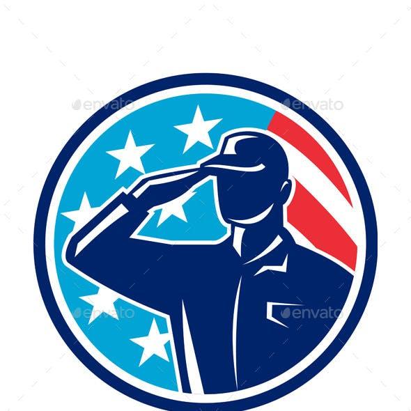 American Soldier Serviceman Saluting Flag Circle Retro
