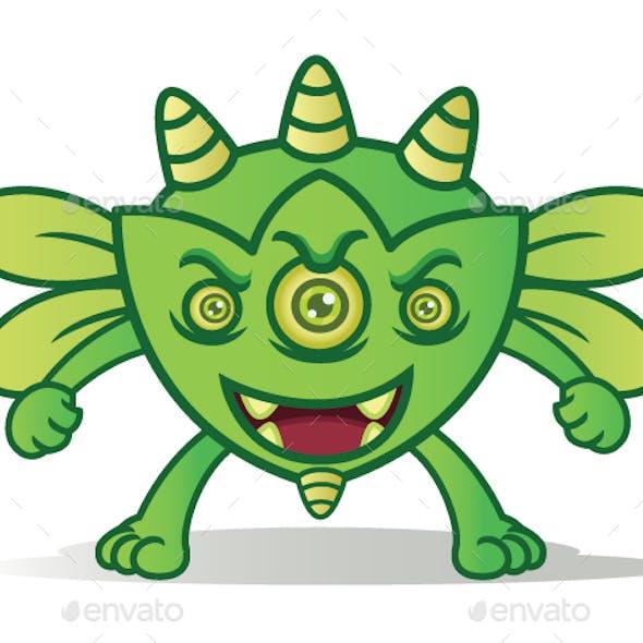 Green Bug Horned Monster Cartoon