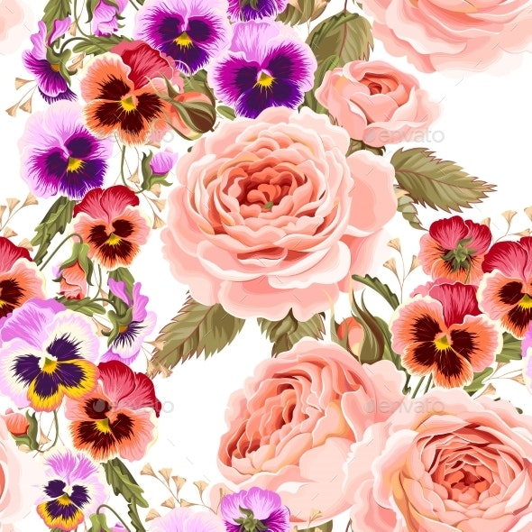 Roses and Pansies Seamless Background - Patterns Decorative