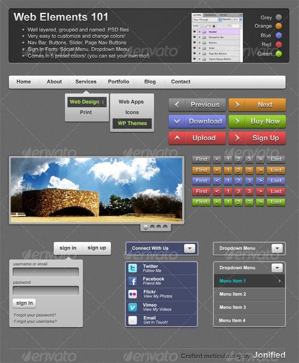 Web Elements 101  - Backgrounds Graphics