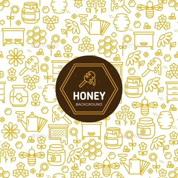 Honey Wrapping Vector Background with Bees