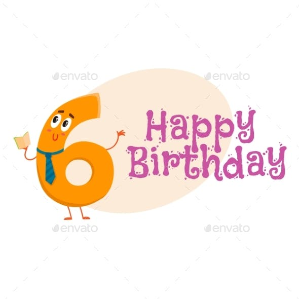 Happy Birthday Vector Greeting Card Design with