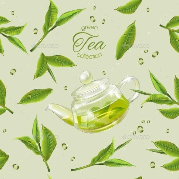 Green Tea Pattern - Food Objects