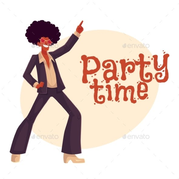 Man in Afro Wig and 1970s Style Clothes Dancing