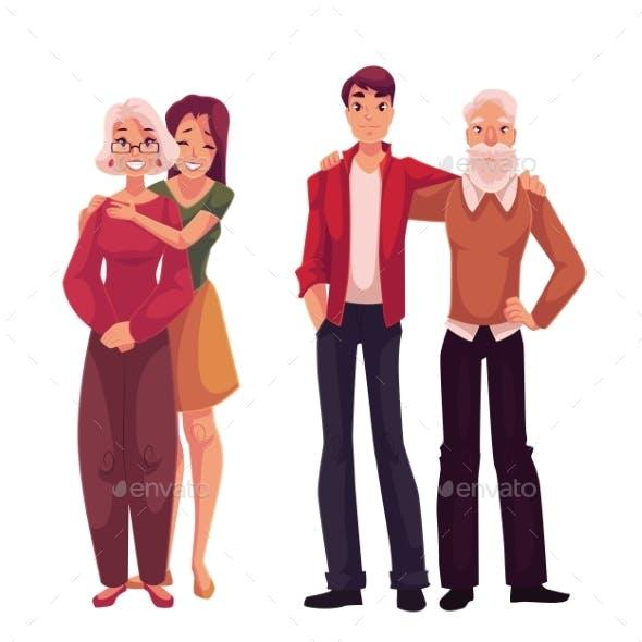 Grandchildren Hugging Their Grandparents, Cartoon
