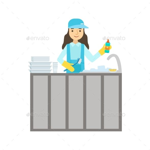 Girl Washing Dishes In The Tap, Cleaning Service