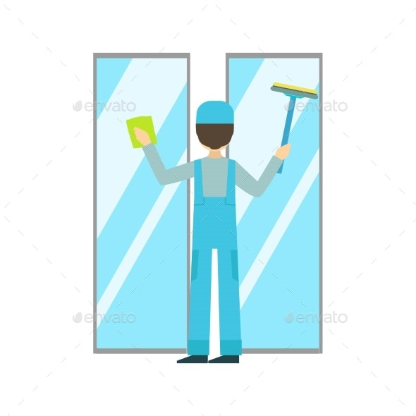 Man With Sponge And Squeegee Washing Windows - Illustrations Graphics