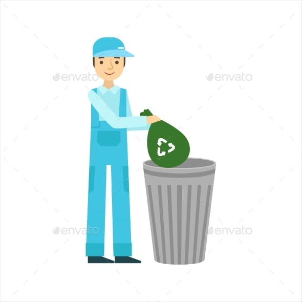 Man Throwing Garbage In Recycle Bin, Cleaning