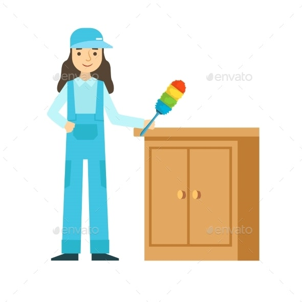 Woman Dusting The Furniture, Cleaning Service - Illustrations Graphics