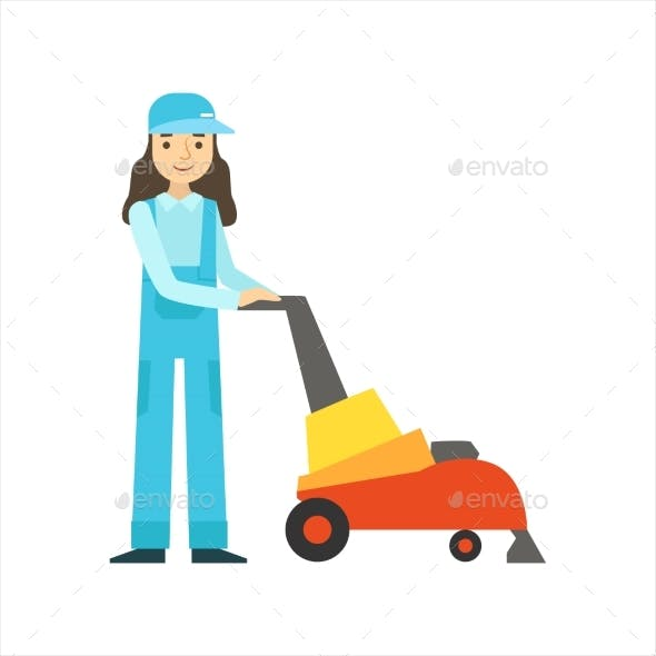 Womoan Using High-Tech Hoover, Cleaning Service