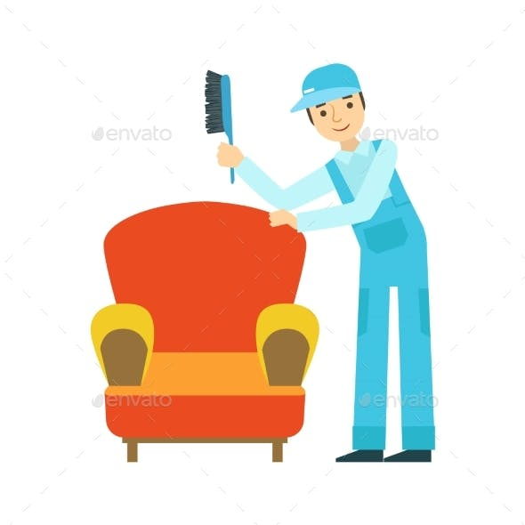 Man Dusting Armchair With Brush, Cleaning Service