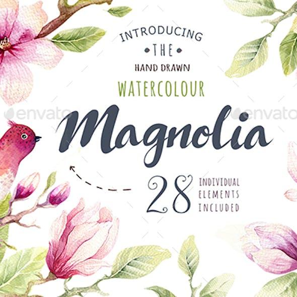 Watercolor Magnolia and Birds