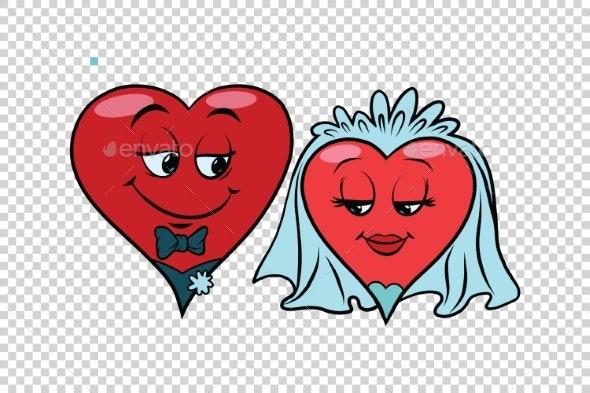 Wedding Groom and Bride Valentine Heart - Valentines Seasons/Holidays