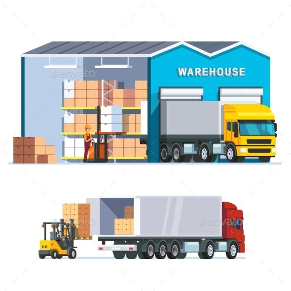 Logistics Warehouse with Loading Truck