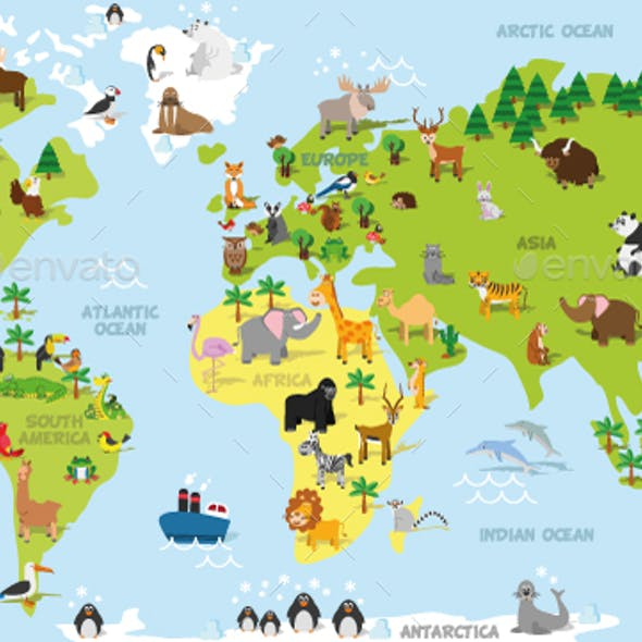 Cartoon World Map with Animals
