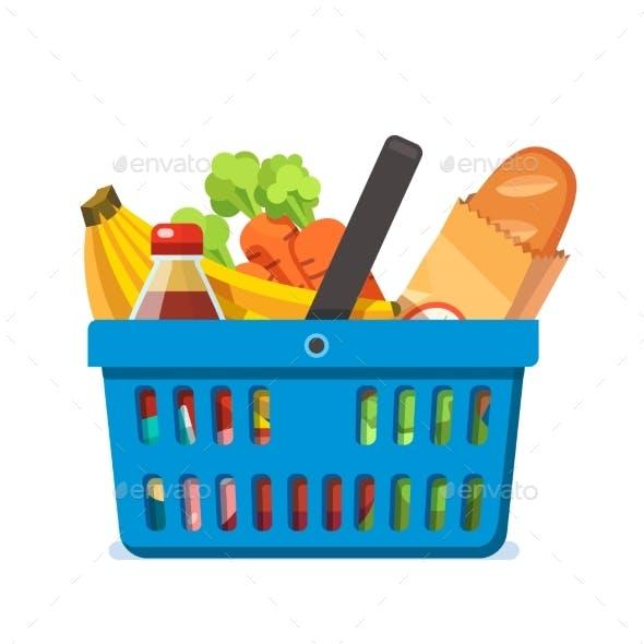 Shopping Basket Full of Fresh Groceries.
