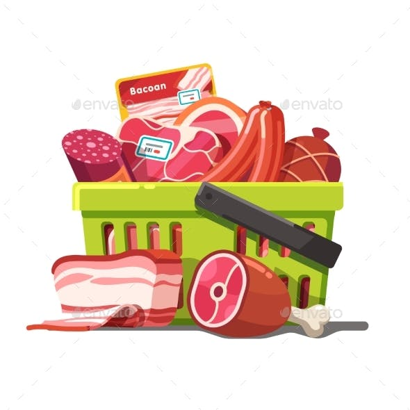 Shopping Basket Full of Meat. Raw and Prepared