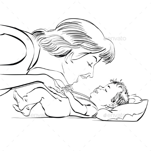 Mother and Newborn Baby Love - People Characters