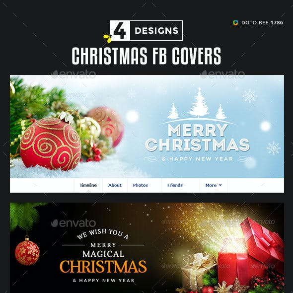 Christmas Facebook Covers - 4 Designs