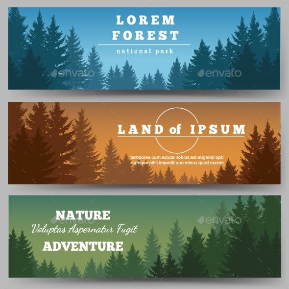 Green Pines Forest Banners