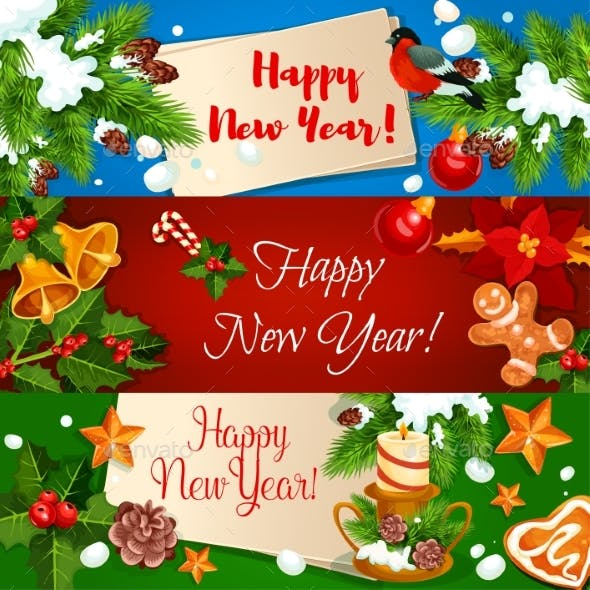 New Year Banners and Greeting Cards