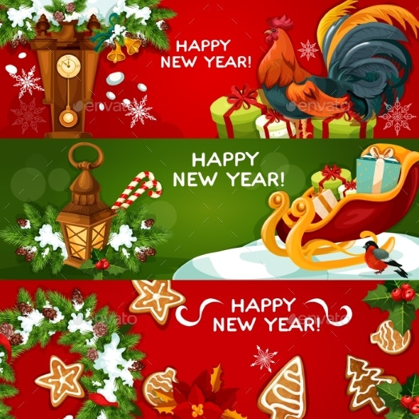 Happy New Year Holiday Banners - New Year Seasons/Holidays