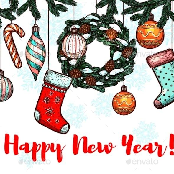 New Year Winter Holidays Greeting Card