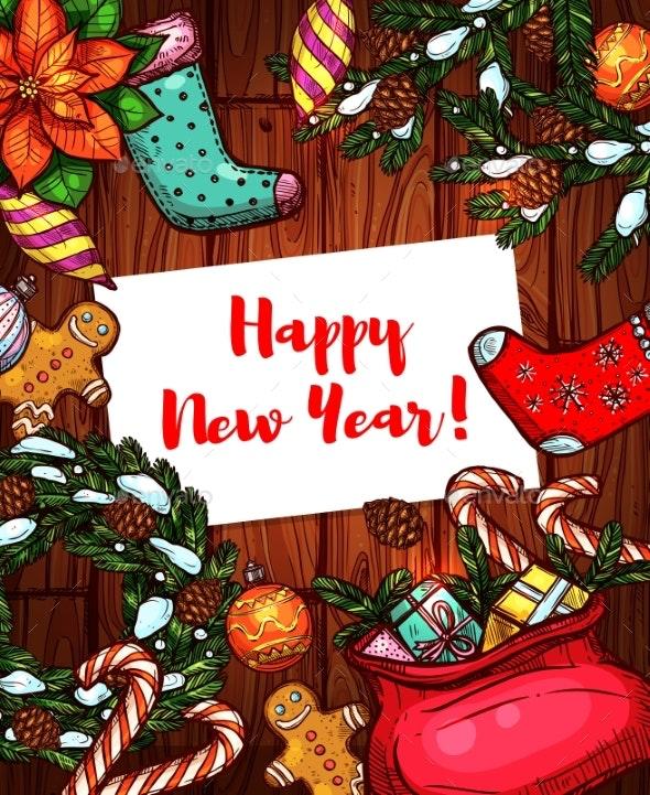 New Year Holiday Sketched Poster - New Year Seasons/Holidays