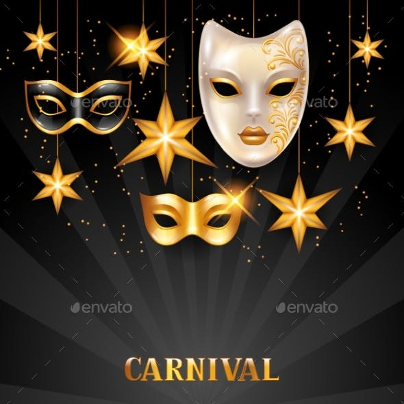 Carnival Invitation Card with Golden Masks