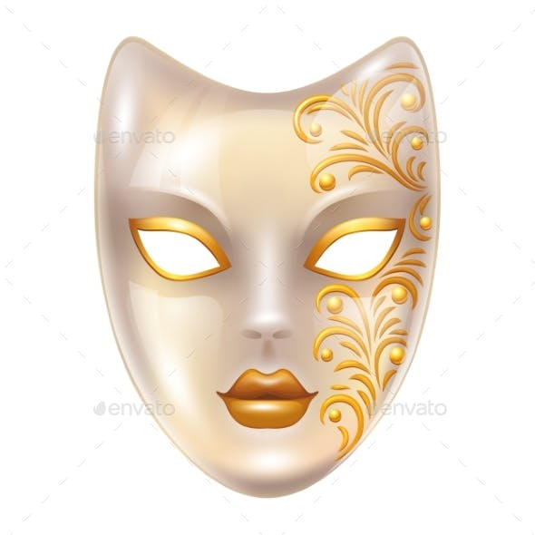 Carnival Venetian Masks Decorated with Gold