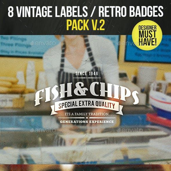 8 Vintage Labels / Retro Insignias V.2