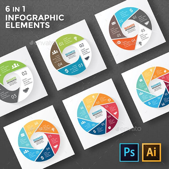 Circle Infographic Diagrams. PSD, EPS, AI.