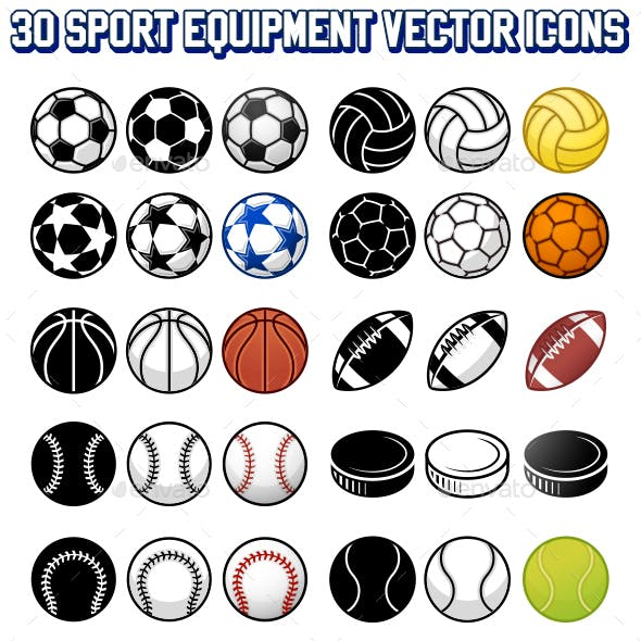 20 Sport Balls vector Icons Set