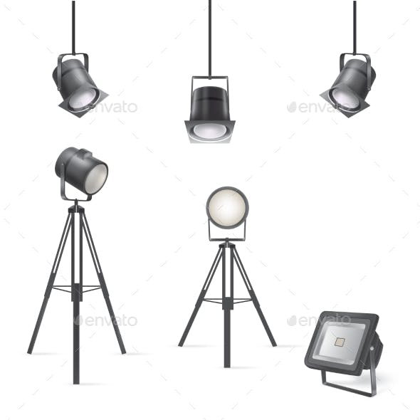 Set of Vector Scenic Spotlights