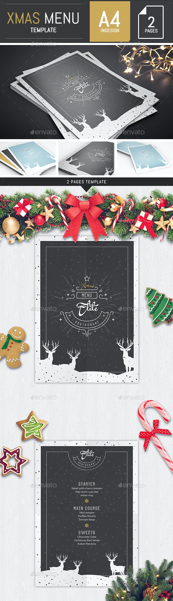 A4 Modern Christmas Menu Template - Food Menus Print Templates