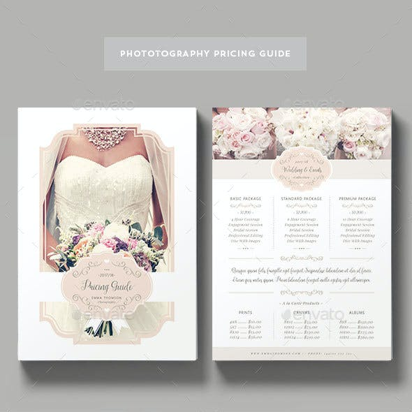 Wedding Photography Pricing Graphics, Designs & Templates