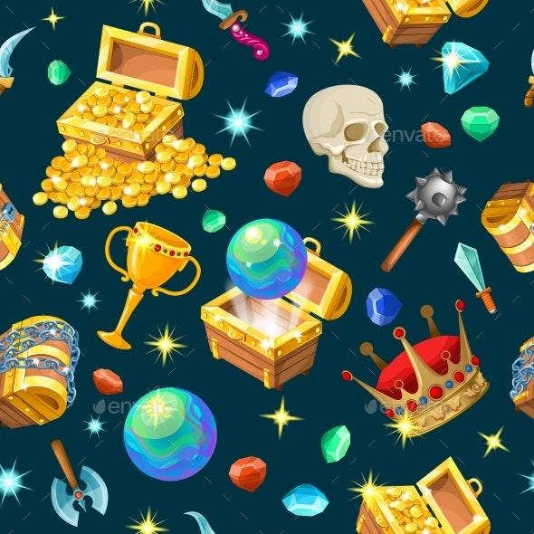 Treasure Chests Isometric Seamless Pattern - Patterns Decorative