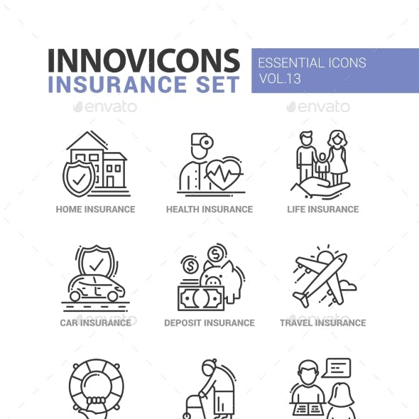 Types of Insurance Line Design Icons Set