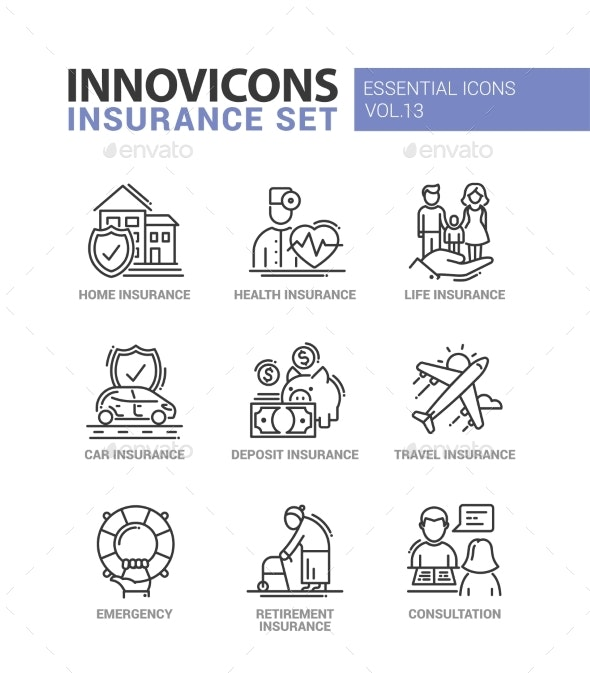Types of Insurance Line Design Icons Set - Services Commercial / Shopping