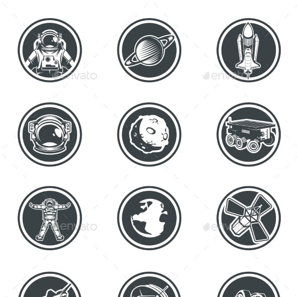Set of Vector Round Badges Space