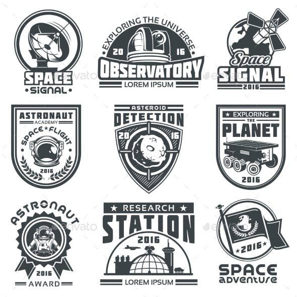 Set of Vector Badges Space