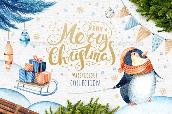 Watercolour Christmas Penguins - Objects Illustrations