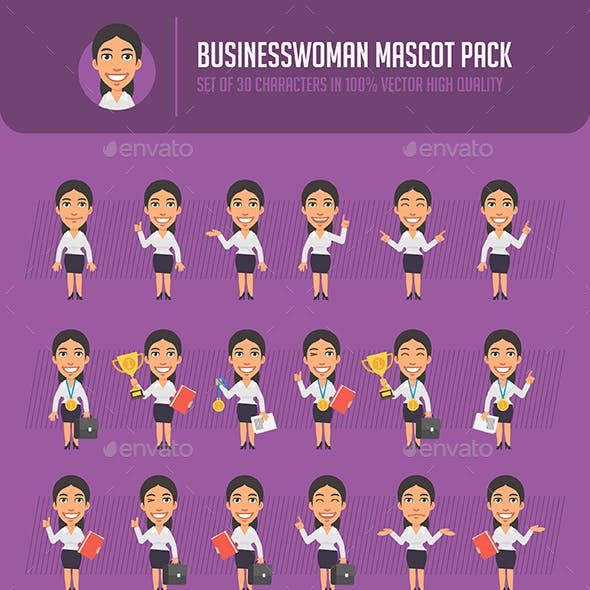 Businesswoman Mascot Pack