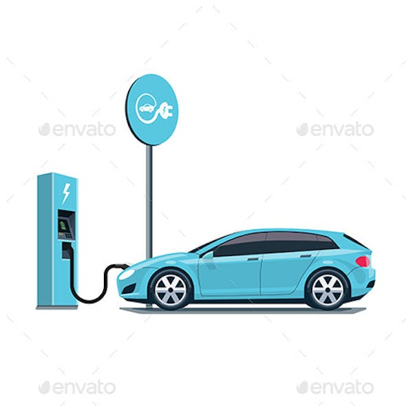 Electric Car Charging at the Charging Station on White Background