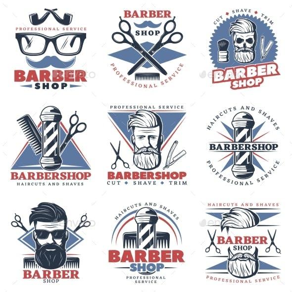 Barbershop Emblem Design Set