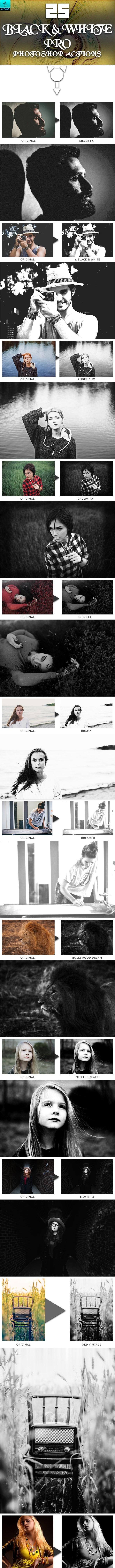 25 Black & White PRO Photoshop Actions - Actions Photoshop