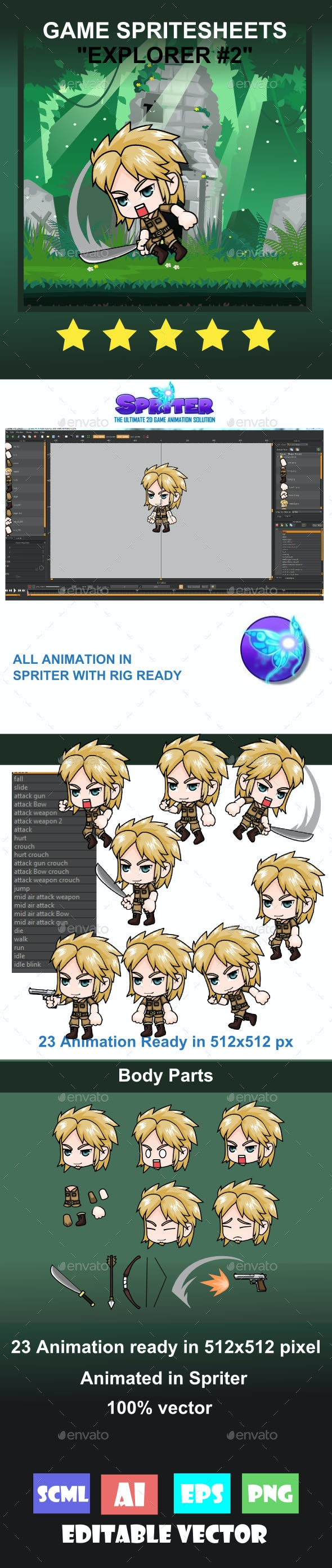 The Explorer #2 Sprite Character - Sprites Game Assets