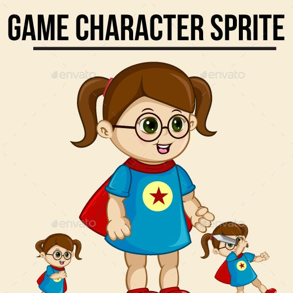 Little Girl Superhero Sprite Character