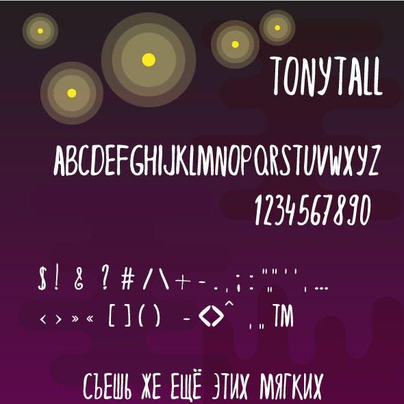 TonyTall thin doodle font.